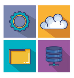 cloud computing set flat icons vector image