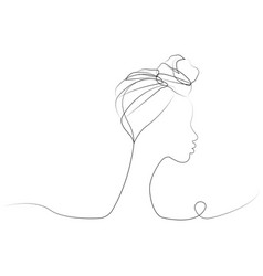 Continuous line drawing afro woman in turban vector