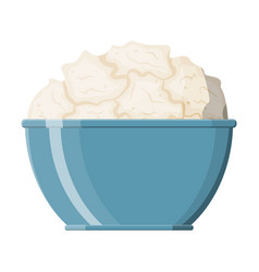 cottage cheese in bowl isolated on white vector image