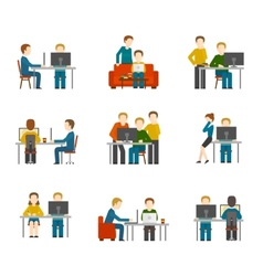 Coworking center icons vector
