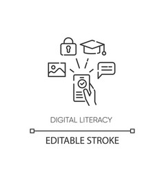 Digital literacy pixel perfect linear icon vector