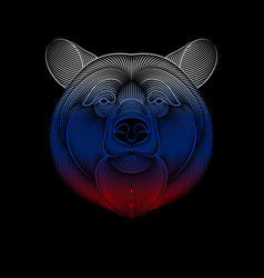 engraving stylized russian bear on black vector image