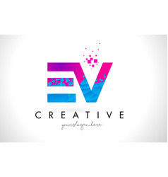 ev e v letter logo with shattered broken blue vector image