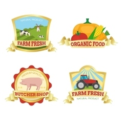 farm food colorful emblems vector image