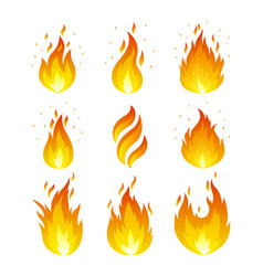 Flame icons set vector