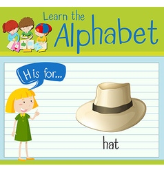 Flashcard letter H is for hat vector image