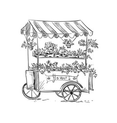 Flower stall florist cart vector
