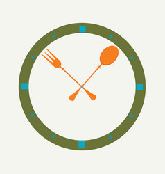 fork and spoon as a clock vector image