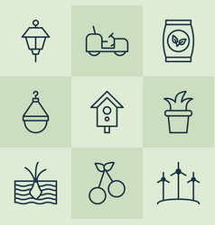 garden icons set with scale cherry tractor and vector image