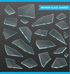 glass fragments realistic dark transparent set vector image vector image