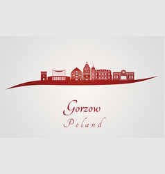 gorzow skyline in red vector image