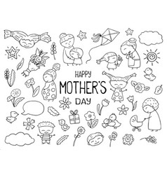 Happy mother day black white clipart mom vector