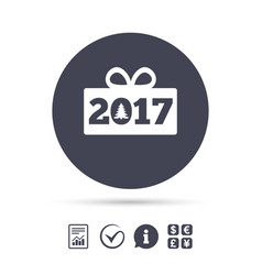 Happy new year 2017 sign icon christmas gift vector