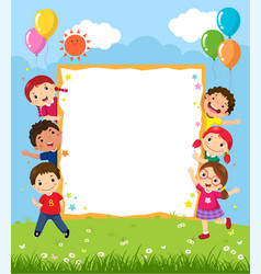 Happy smiling group of kids showing blank board vector