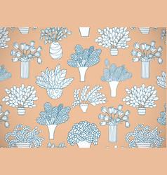 Horizontal card cute cartoon plants and flowers vector