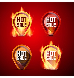 Hot Sale Labels Set in Flames - Fire vector image