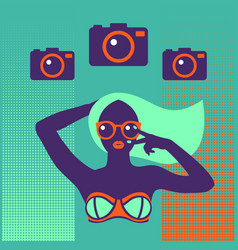 hot tan girl in bikini in flat pop art style vector image