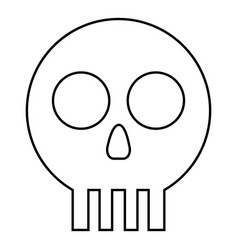 Human skull cranium icon outline black color flat vector