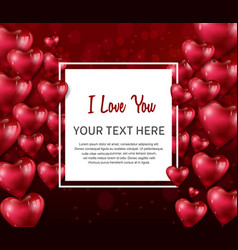 I love you design with heart balloon in square vector