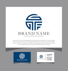 Initials gpf logo with a business card vector