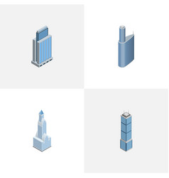 isometric construction set of building urban vector image