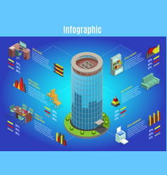 Isometric office interior infographic template vector