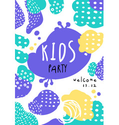 kids party poster with date template can be used vector image
