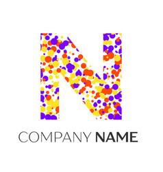 Letter n logo with purple yellow red particles vector