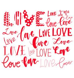 lettering set love made for postcard and greeting vector image