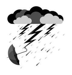 lightning and heavy rain falling umbrella from vector image