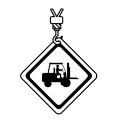 Line caution diamond emblem with laborer in vector
