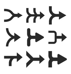 Merge Arrows Right Flat Icon Set vector