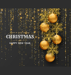 Merry christmas background with shiny snowflakes vector