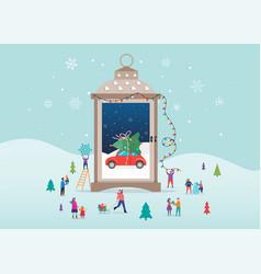 merry christmas winter wonderland scenes in s vector image