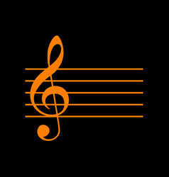 music violin clef sign g-clef orange icon on vector image