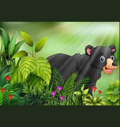 Nature scene with black bear cartoon vector