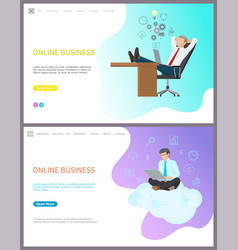 online business boss relaxing at workplace set vector image
