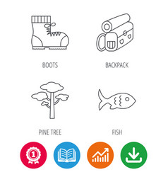 Pine tree fish and hiking boots icons vector