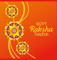 Raksha bandhan with flowers bracelet decoration vector