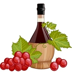 Red wine in italian fiasco bottle vector