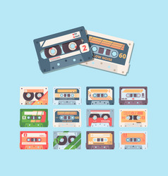 retro compact cassette colorful flat vector image