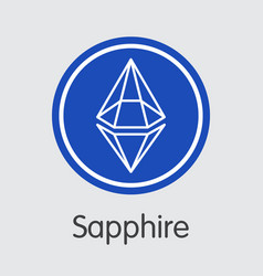 Sapphire crypto currency coin trading sign vector