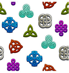 Seamless pattern celtic symbols set celtic icons vector