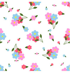 seamless pattern colorful flowers and leaves vector image vector image