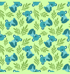 Seamless pattern with cute koala bears and leaves vector