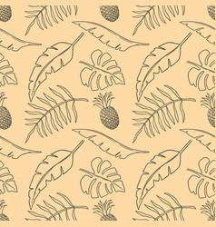 seamless pattern with tropical leaves and fruits vector image