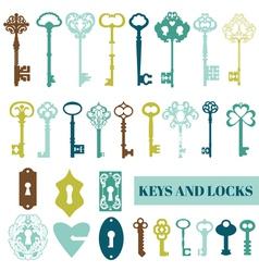 Set antique keys and locks vector
