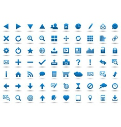 Set of blue navigation web icons vector
