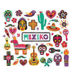 Set of national mexican symbols and traditional vector
