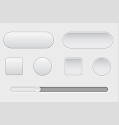 set of white plastic buttons normal and pushed vector image